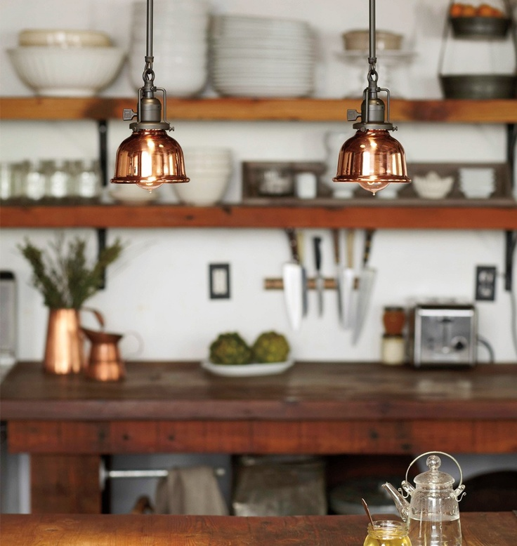 copper, rustic wood, white dishes, green