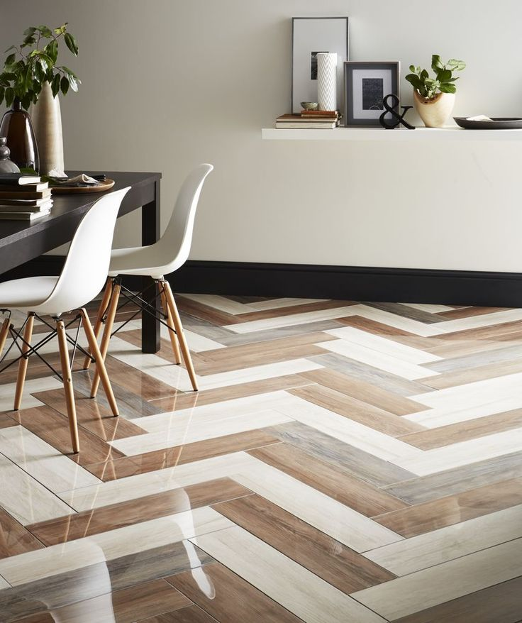 Give your living space a modern edge with these super chevron wood-effect porcelain tiles, which are suitable for both walls and floors, and perfect for a dining room. (Nayara Herringbone tiles (16.5cm x 66cm), £69.97 a sq metre, Topps Tiles). Find more ideas at housebeautiful.co.uk