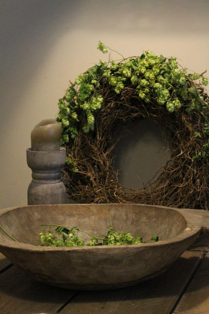 vine + hops wreath, well-worn wooden bowl, pillar candle
