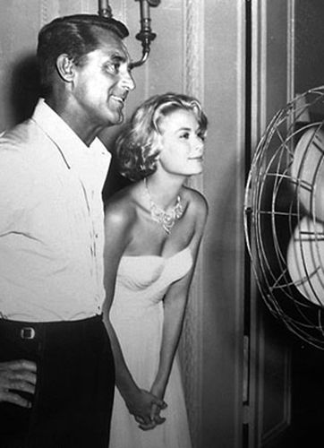 "Cary Grant and Grace Kelly during the filming of ""To Catch a Thief"" Dir. A. Hitchcock, 1955."