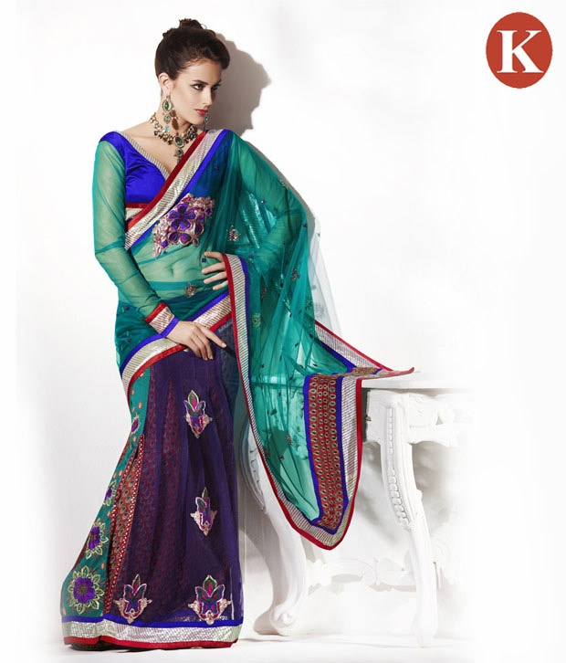 #Snapdealbestproducts Khazana Light Green And Blue Net Saree With Unstitched Blouse, http://www.snapdeal.com/product/khazana-light-green-and-blue/398491?storeID=women-apparel-sarees_wdgt4in1_398491
