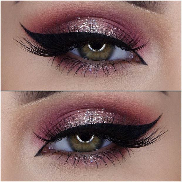 Glitter pink on the bottom, regular hot pink on the bottom with a narrow wing led eyeliner