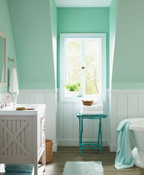 Amazing Mint Color In the Interiors: 35 Trendy Ideas : Mint Color In The Interiors With White And Green Wooden Bathroom Wall And Washbasin A...