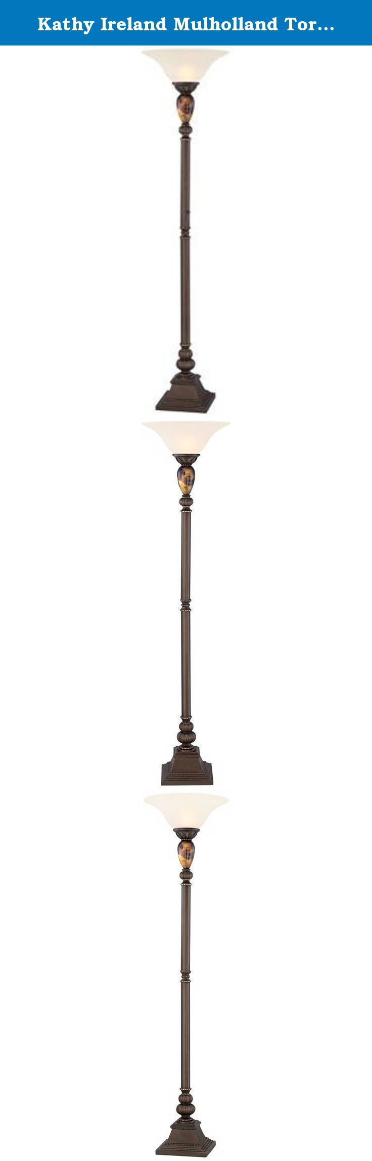 "Kathy Ireland Mulholland Torchiere Floor Lamp. Ideal for general room illumination, this Kathy Ireland design is the perfect marriage of form and function. It features traditional styling with a frosted glass shade and tortoise shell glass font. - Kathy Ireland Home Collection. - Tortoise shell glass font. - Cast resin construction. - Frosted glass. - Foot dimmer switch. - Takes one 150 watt bulb (not included). - 72"" high. - 18"" diameter glass shade. - 11"" square base (footprint)."