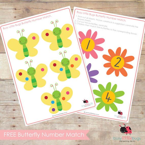 Butterfly Number Match (free; from Busy Little Bugs)