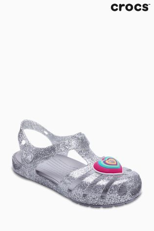 7b19aa92f4ec Crocs Silver Glitter Isabella Heart T-Bar Sandal
