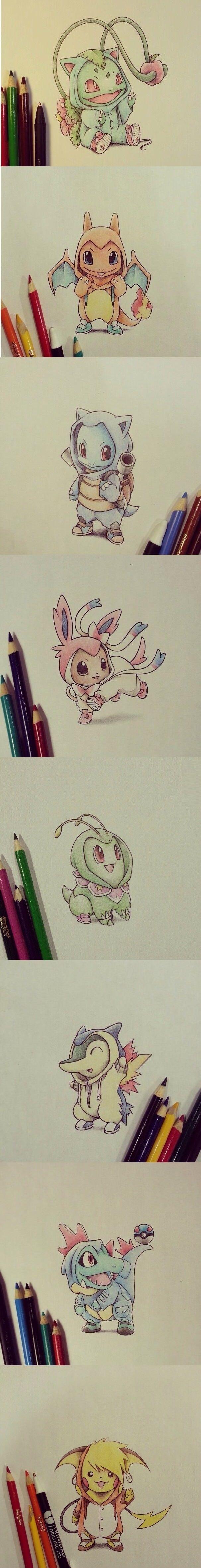gente olha só esses Pokémon!!!!eles estão fantasiados de suas evoluções!!!como o titulo  Lápis de cor,pokémons e muita fofura!