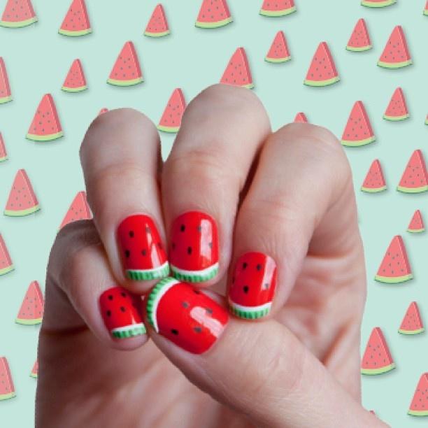 Watermelon fingers   by Trophy Wife Nail Art
