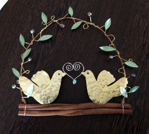 Hammered brass doves/ olive branch/ olive wreath  pigeon wreath/ wall decor…