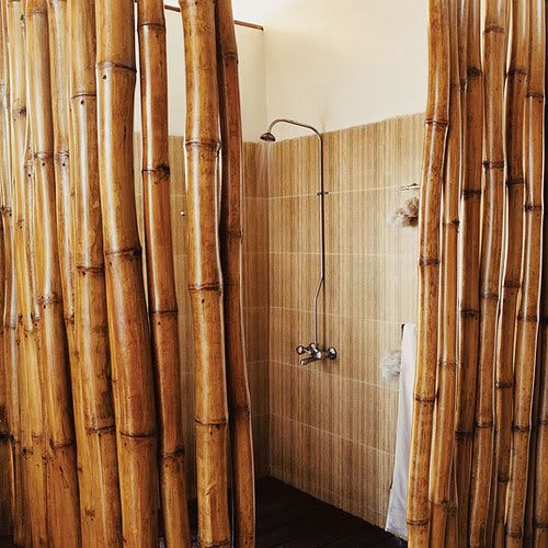 Outside Shower Use Large Rain Showerhead Redwood Slat Grate To Stand On Coil Bamboo Shades So