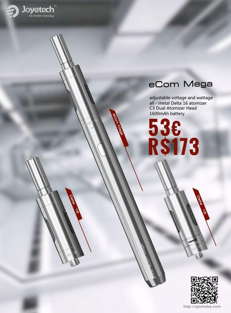 eCom™ MEGA 1 * eCom mega bateria 1 * Tubo atomizador 1 * 1A parede Adaptor 1 * 1 * Bocal Base de Dados 1 * cabo USB 2 * C3 dupla Atomizador Cabeça 1 * Adaptador 1 * Instrução e Garantia cartão  Trabalhando faixa de tensão: 3.3-5.5V Atomizador Capacidade: 3,2 ml Capacidade da bateria: 1600mAh Cores: Preto, Prata http://www.qismoke.com/pt/e-cigarro/59-ecom-mega-joyetech-preco.html
