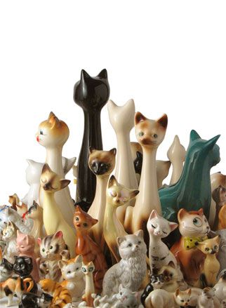Vintage collection of ceramic cats, Siamese.