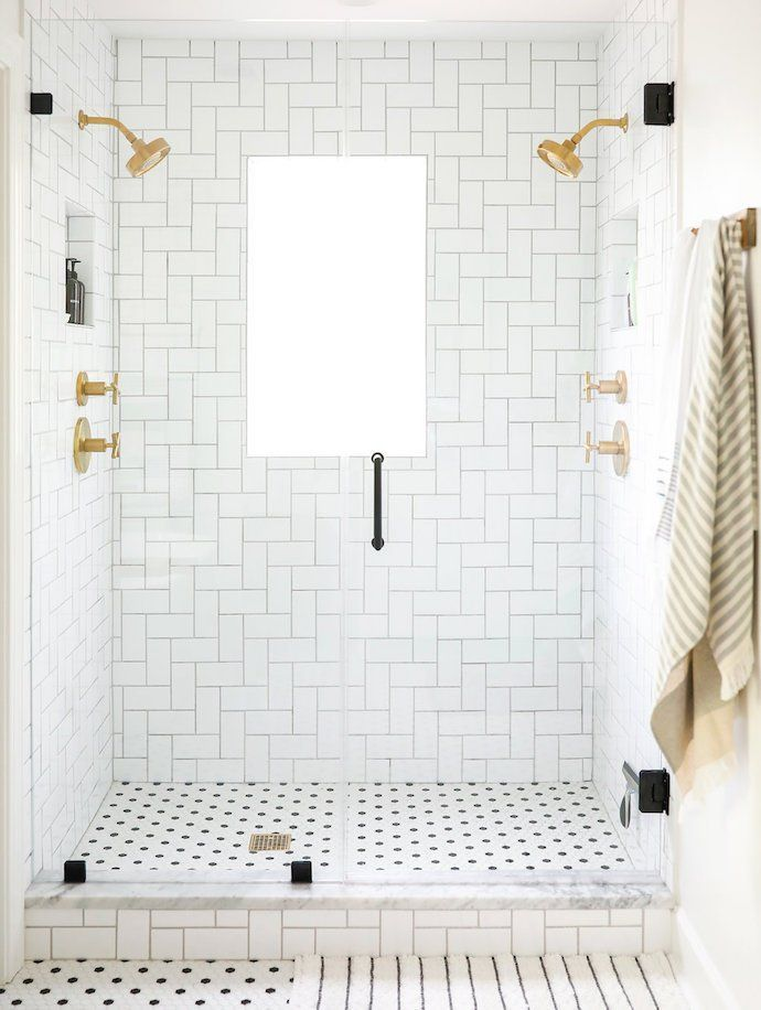 Inside The Bright Happy Home Of Sunny Circle Studio S Erin Wheeler White Bathroom Tiles Tile Bathroom Gold Bathroom Decor