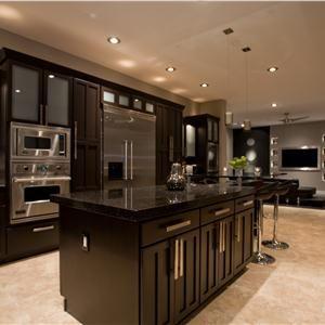 Esta cocina es precioso. Los gabinetes de color café espresso son glamorosas y el hardware de níquel cepillado agrega estilo. Nos encanta la pequeña iluminación empotrada - mucho más elegante que los modelos grandes de grado constructor. ¿Quién no sería capaz de cocinar una cena increíble con estos aparatos profesionales de gama alta.