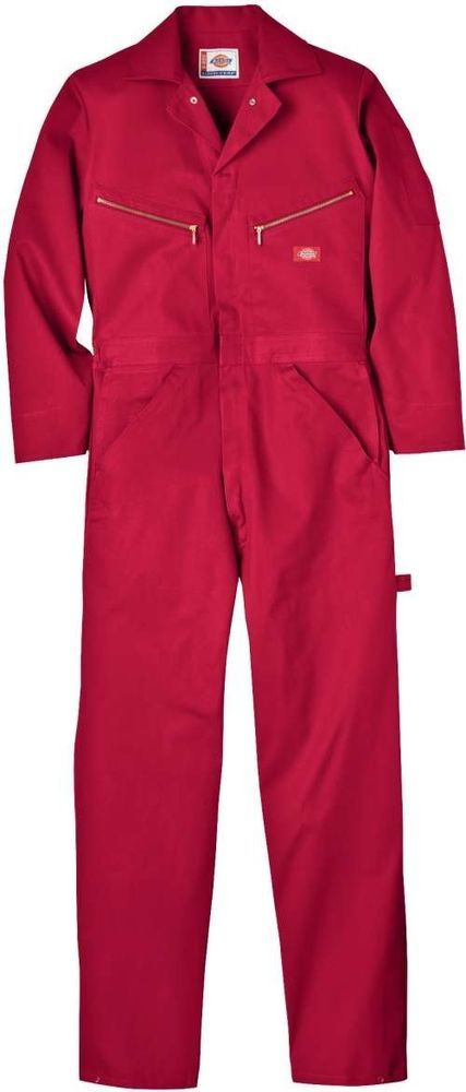 dickies mens rare red long sleeve work coveralls S-4X | Red's jumpsuit cosplay option