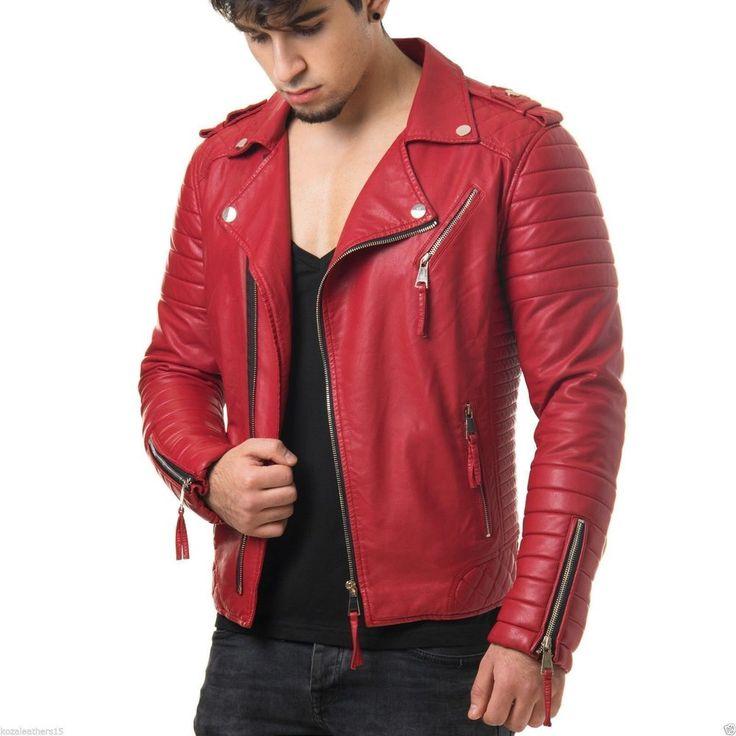 New Men's Genuine Lambskin Leather Jacket Red Slim fit Biker Motorcycle jacket #LeatherCraze #Motorcycle