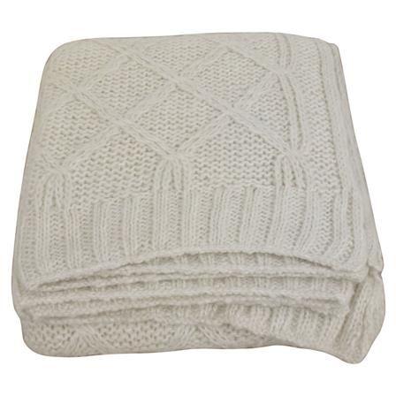 ACHICA   Cream Wool Diamond Throw
