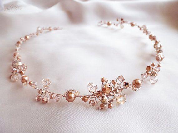Rose Gold Crystal Bridal Headband Sparkling by LysaCreation