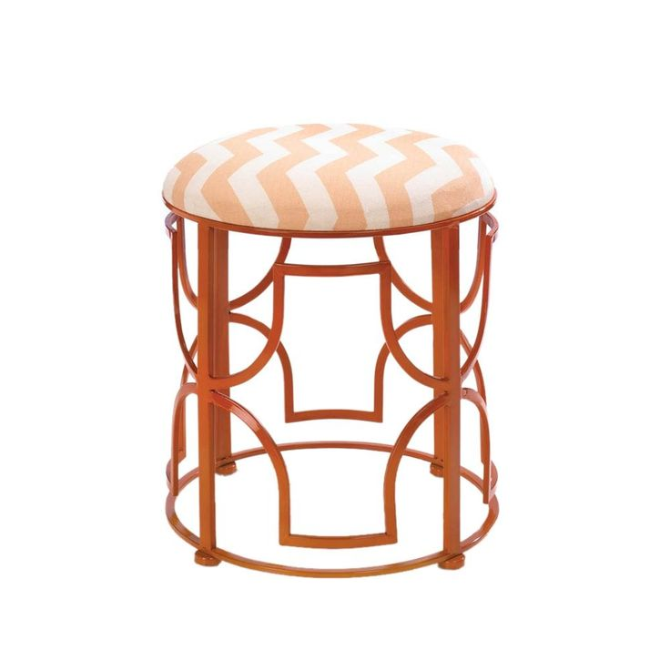 Koehler Home Decor Chic Cast Iron Chevron Stool (Stool), Orange