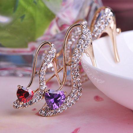 Туфли на Высоком каблуке Броши Позолоченные Кристалл Rhinestone Брошь Для Свадьбы Свадебные Платья Хиджаб Клип Шарф Пряжка Pins Броши