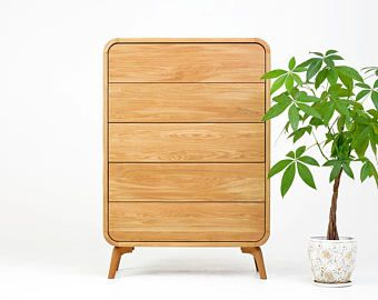 Solid Wood Dresser with Drawers /  Large Chest of Drawers /  Cupboard / Large Dresser Handmade modern Midcentury Natural Wooden Furniture