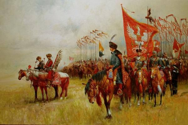 Jan III Sobieski and his army around Vienna. He led 18,000 horsemen down the hills, the largest cavalry charge in history.  The Ottoman siege of Vienna was lifted. Croissants and coffee were the spoils of victory.      bg