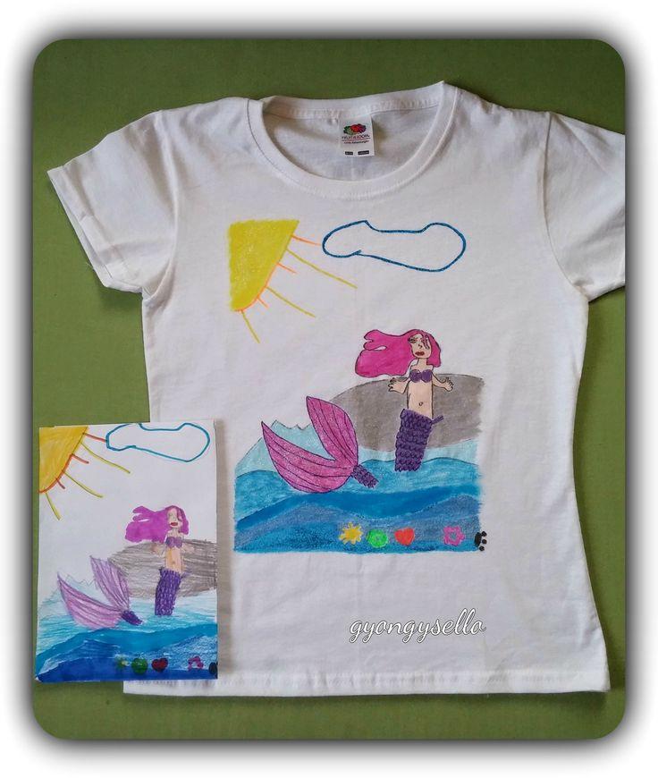 8 éves kislány rajza alapján, kézzel festett póló.