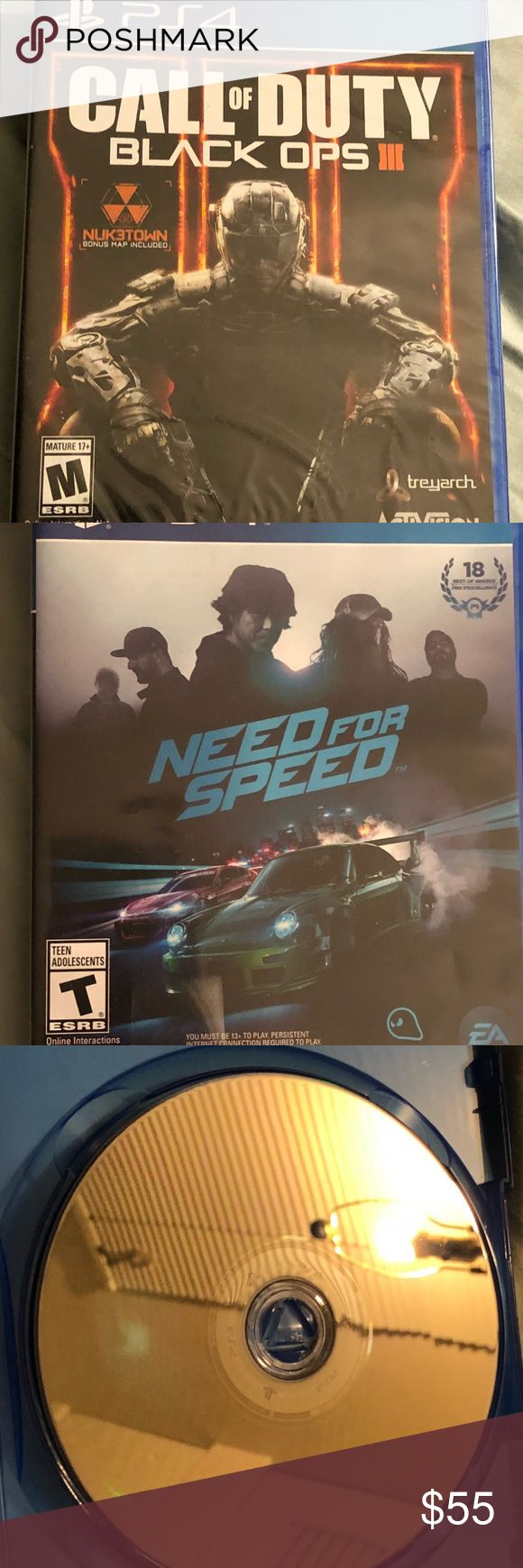 PS4 games Black Ops 2 never opened Need for Speed (opened, no scratches, see photo) playstation Other