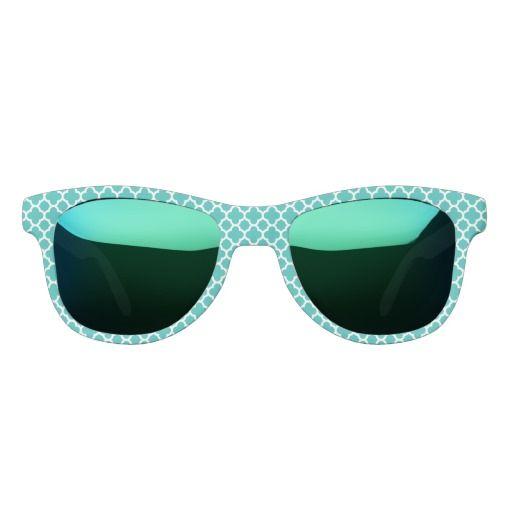 Sea Green Color Quatrefoil Pattern Sunglasses