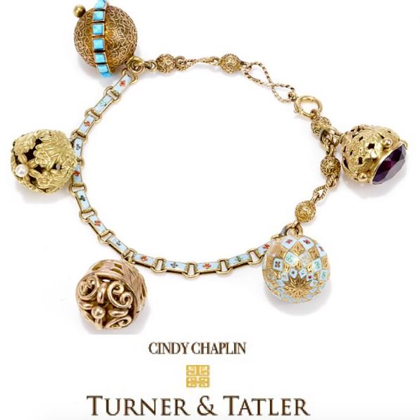 Kicking off this Monday with an #exquisite example of a #custom created #fob #bracelet with an #enamel and yellow #gold #fancy #link #chain with 5 #antique #fobs in 14 KT. and #18karat gold with #details of #enamel #amethyst #turquoise and #pearl #oneofakind piece. Available at Turnerandtatler.com