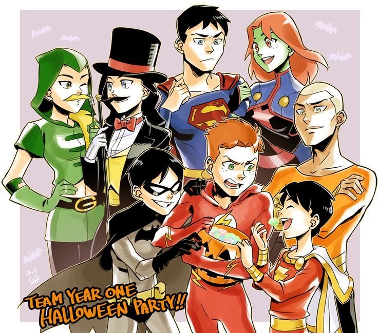 Young Justice The Team Holloween party!! AHK ROBIN AND KID FLASH SO CUTE!!!!!!!