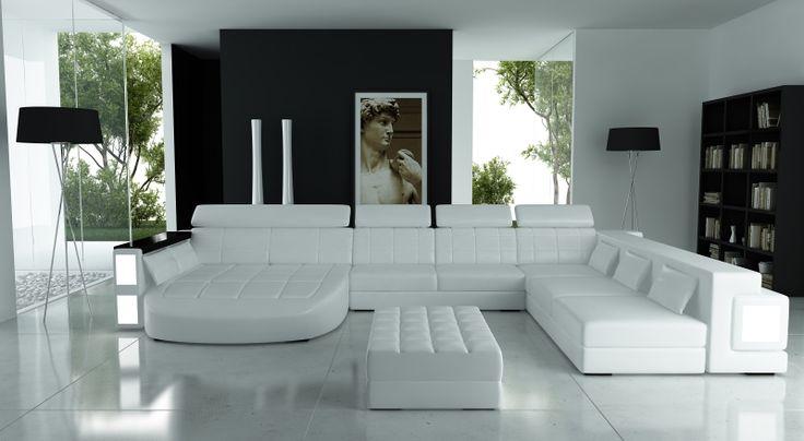Design hoekbank gemaakt van kunstleer (Santos leer)  Hoekbank Altea is een design bank met twee