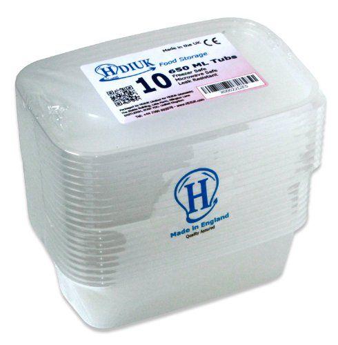 10 x micro-ondes Grand 650ml / Congélateur Coffre boîtes à lunch en plastique / récipients alimentaires + Couvercles pour cuisiner les…