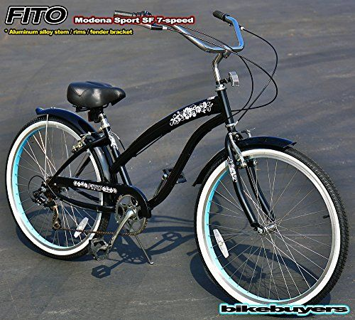 Special Offers - Fito Modena Sport SF Shimano 7-speed 26 wheel crank forward womans Beach Cruiser Bikes (BLACK / TURQUOISE) - In stock & Free Shipping. You can save more money! Check It (April 03 2016 at 05:26AM) >> http://cruiserbikeswm.net/fito-modena-sport-sf-shimano-7-speed-26-wheel-crank-forward-womans-beach-cruiser-bikes-black-turquoise/
