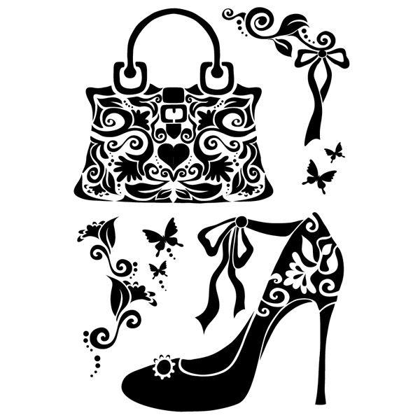 Hochwertige Laser-Kunststoff-Schablone zur Gestaltung von Textilien, Din A4. Motiv:  Handtasche/Pumps     Anleitung:  - Die Schablone auf der Rückseite mit   Haftspray   einsprühen und auf einem Textil Ihrer Wahl platzieren. So...