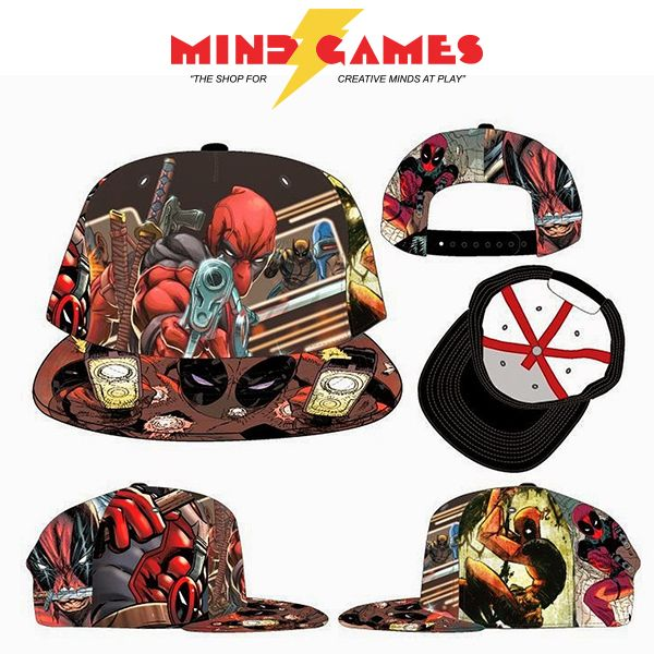 This Bioworld Original Snapback features images of Deadpool from the comics, sublimated onto the cap.  Deadpool Snapback Sublimated Print comes in one size and fits most. The sublimation process means the images will not fade or peel.