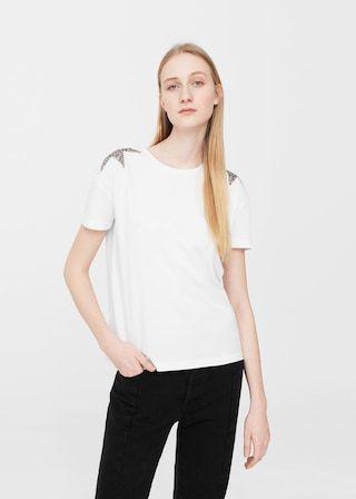 T-shirt étoiles sequins   MANGO