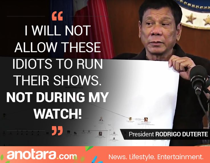 I will not allow these idiots to run their shows. NOT DURING MY WATCH! - President Rodrigo Duterte Follow us: http://fb.me/anotaradotcom