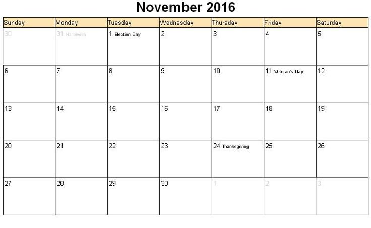 november 2016 calendar with holidays - Google Search | 2016 calendar ...