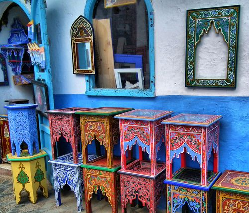 Lovely colorfull boho side tables ~ Asilah, Morocco