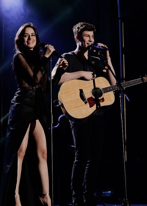 Shawn Mendes and Camila Cabello performing @camshwn