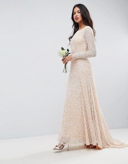 051ef9b6c18 ASOS BRIDAL All Over Embellished Long Sleeve Maxi Dress