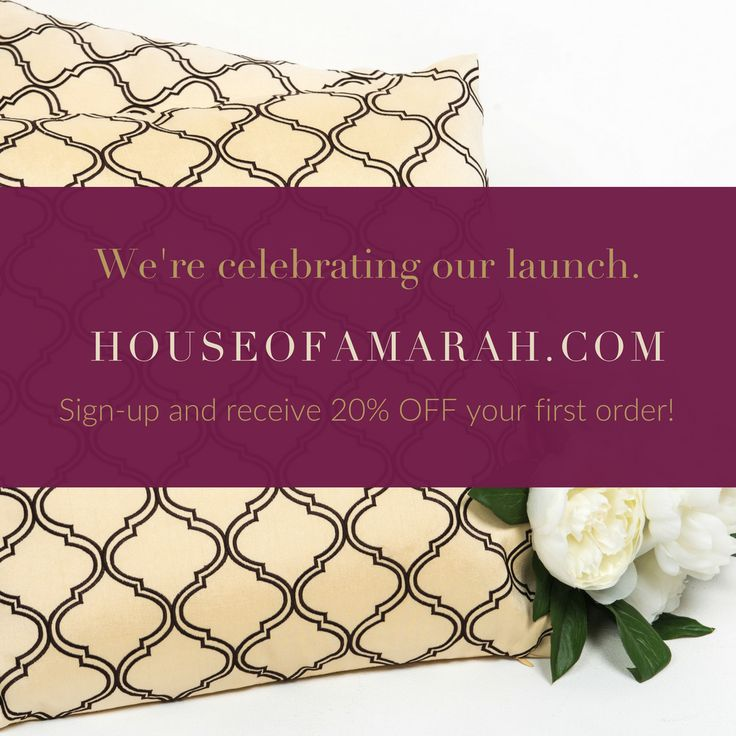 Now that we've launched our site - We want to celebrate with you! Create your My HOA Account and receive 20% OFF your first order. Register here: http://houseofamarah.com/my-account/