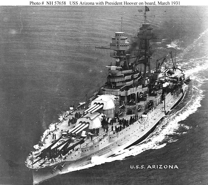 USS Arizona BB39 in 1931.  At the time this photo was taken, President Hoover was aboard the Arizona.
