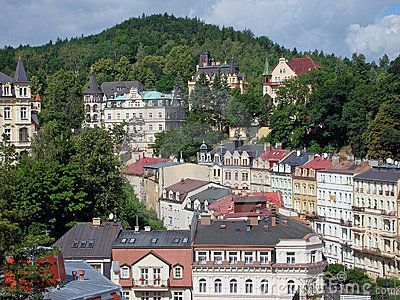 The view to the Sadova street in Karlovy Vary, Czech Republic. Taken from the Bristol Palace hotel.