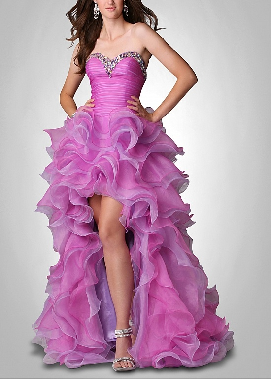 Charming Organza & Satin A-line Strapless Sweetheart Neckline High Low Ruffled Prom Dress