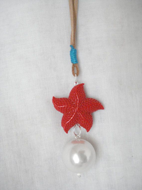 50% off Starfish pearl necklace Summer necklace Coral by Poppyg
