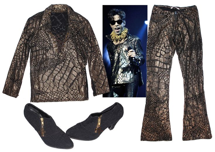 Black and gold costume worn onstage by Prince. Custom-made two-piece costume in thin fabric with