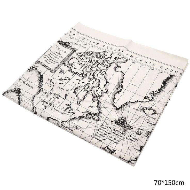 Carte Du Monde Impression Tissu De Toile De Coton Pour Bricolage Bag Nappe | eBay