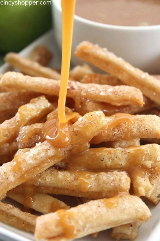 Apple Pie Fries -Super fun spin on a traditional apple pie. Dip them in caramel or even whipped cream for extra yumminess.: